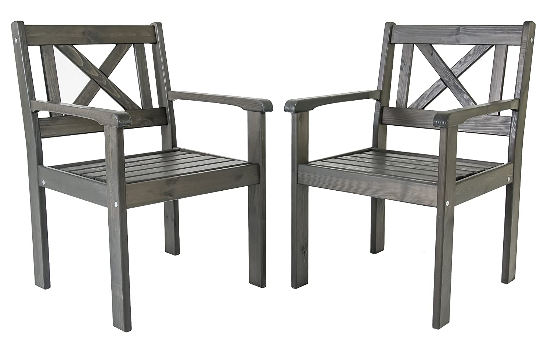 Ambientehome Garten Sessel Stuhl Massivholz Gartenmöbel EVJE, Taupegrau, 2-teiliges Set online bestellen