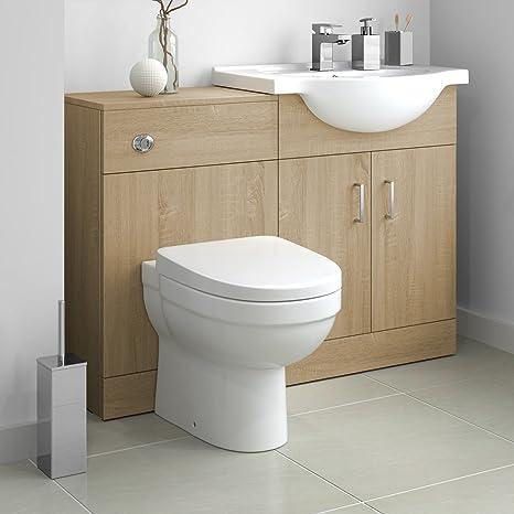 1138mm Oak Effect Vanity Basin Unit Sink & Back to Wall Toilet Furniture Set