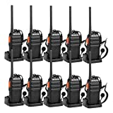 Retevis H-777S Two-Way Radios Long Range Rechargeable FRS Radio Vox Security Walkie Talkies with Earpieces and Chargers USB (10 Pack) (Color: Black)