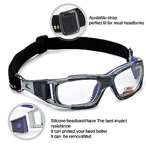 642b4b21738 Panlees Goggles Sports Glasses Adjustable Elastic Wrap Eyewear For Soccer  Basketball Tennis Lover (Blue) (Color  Blue)
