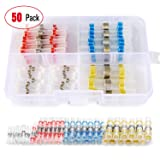 Nilight 50pcs Solder Seal Wire Connectors, Heat Shrink Butt Connectors Wire Splice for Marine Boat Truck Automotive Trailer Wiring(23Red 12Blue 10White 5Yellow),2 Years Warranty (Tamaño: 50PCS Wire Connector)