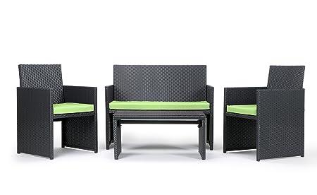 Rattan4Life 4-teilig Neapel Deluxe Polyrattan Gartenmöbel Set, Sofa / Lounge / Gartengarnitur / Kissenbezug, schwarz / grun
