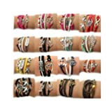 Juanerjie Wholesale 16pcs Vintage Multilayer Multicolor Woven Leather Alloy Owl Braided Infinity Bracelets