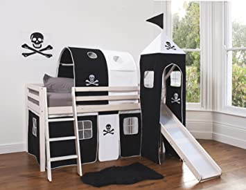 Cabin Bed Mid Sleeper Pirate with Tower ,Tunnel & Tent WHITEWASH 6970WW-PIRATE