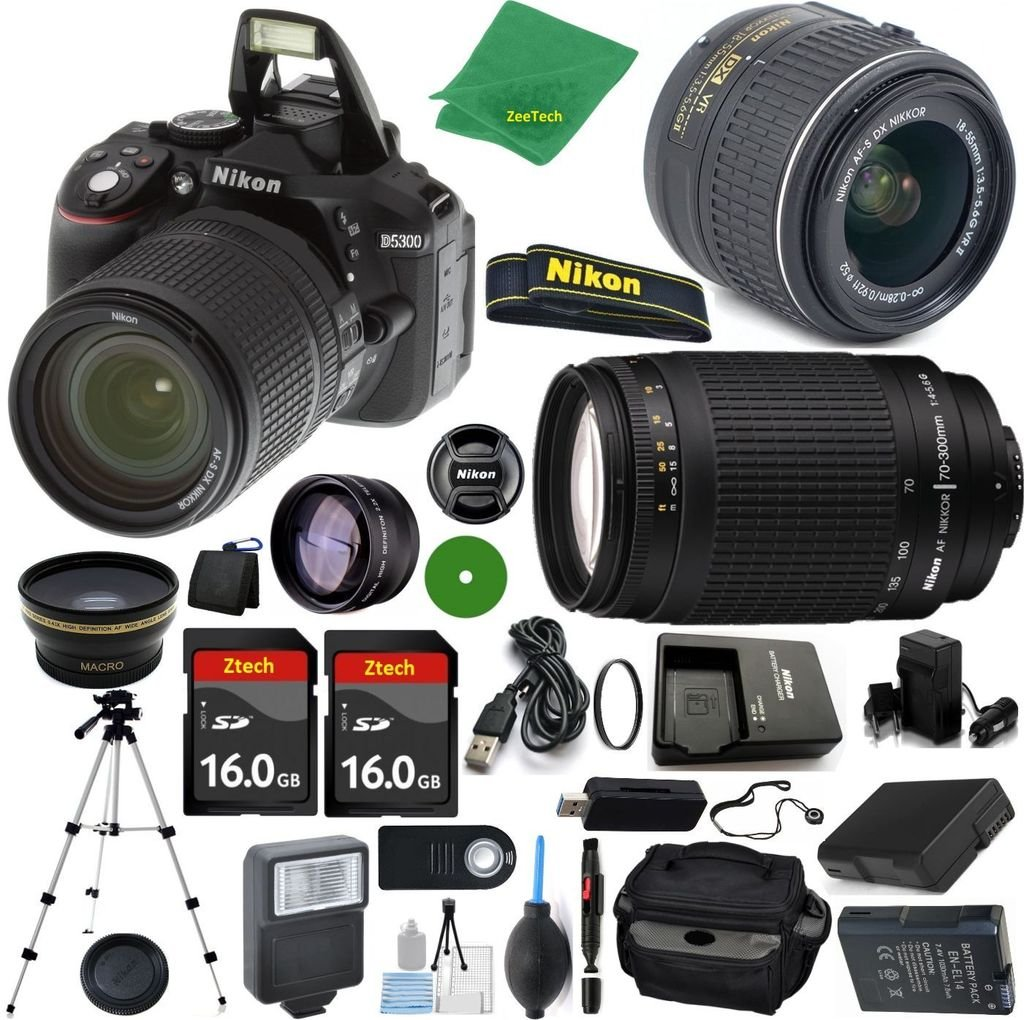 Nikon D5300 24.2 MP CMOS Digital SLR, NIKKOR 18-55mm f/3.5-5.6 Auto Focus-S DX VR, Nikon 70-300mm f/4-5.6G, 2pcs 16GB ZeeTech Memory, Case, Wide Angle, Telephoto, Flash, Battery, Charger