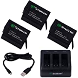 Smatree 1290mAh Rechargeable Battery (3 Pack) w/ 3-Channel Charger for GoPro Hero 5 Hero 5 Black Hero 6 Black GoPro Hero 2018