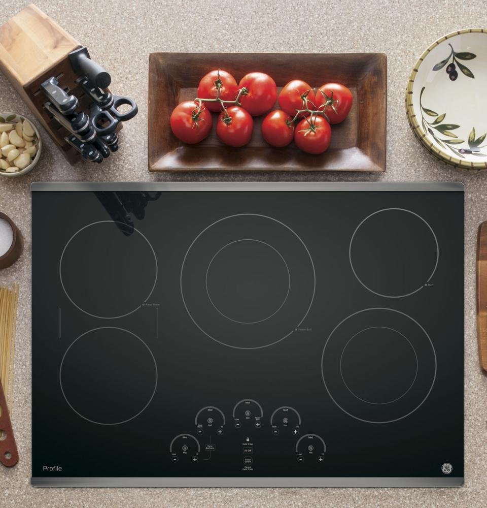 "GE Profile PP9030SJSS 30"" Touch Control Electric Cooktop with 5 Elements Griddle Keep-Warm Setting Timer Setting Level Indicators and Black Ceramic Glass Top with Stainless Steel"