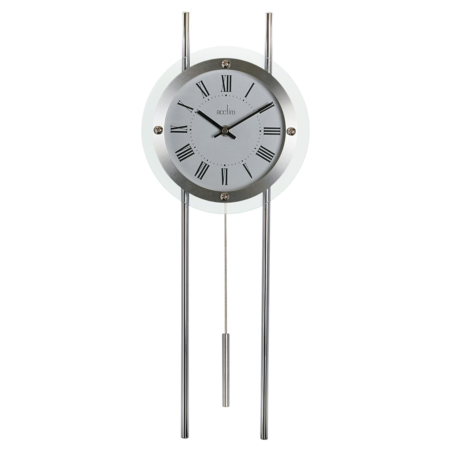 Acctim 28237 Adderley Modern Pendulum Regulator Wall Clock Silver Ebay