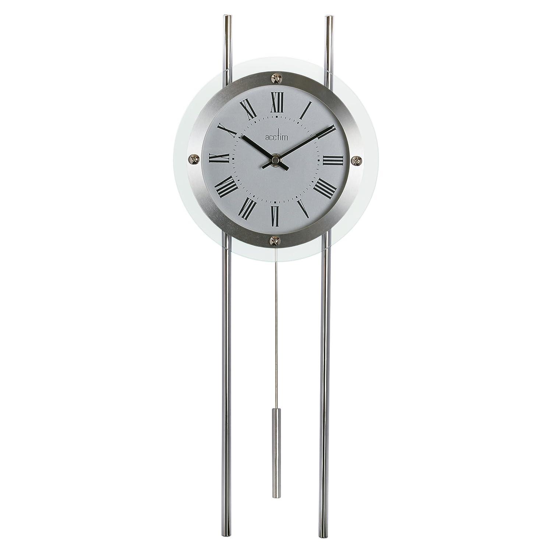 Acctim 28237 adderley modern pendulum regulator wall clock silver ebay - Contemporary pendulum wall clock ...
