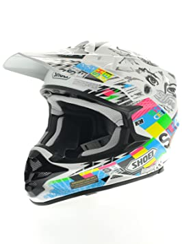 Casque Motocross Shoei 2015 VFX-W Krack TC10 Blanc-Multi
