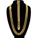 Cuban Link Necklace and Bracelet Set 18k Gold Plated with Box Clasp Miami Cuban Stainless Steel Fashion Jewelry 18 mm (Color: Gold)