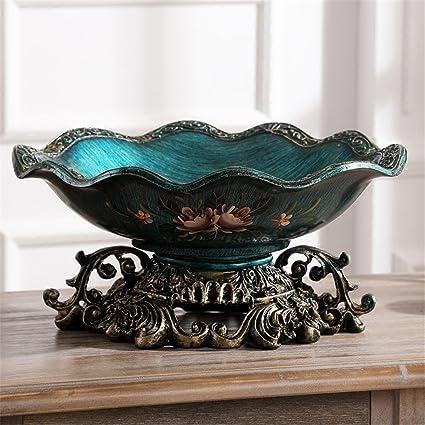 Fruit bowl Artesanía Decoración para el hogar Estilo europeo Retro plato de frutas manual de pintura decoración Bandeja de frutas Americana mesa de centro de mesa de comedor Decoración