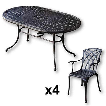 Lazy Susan - Table ovale 150 x 95 cm JUNE et 4 chaises de jardin - Salon de jardin en aluminium moulé, coloris Bronze ancien (chaises APRIL)
