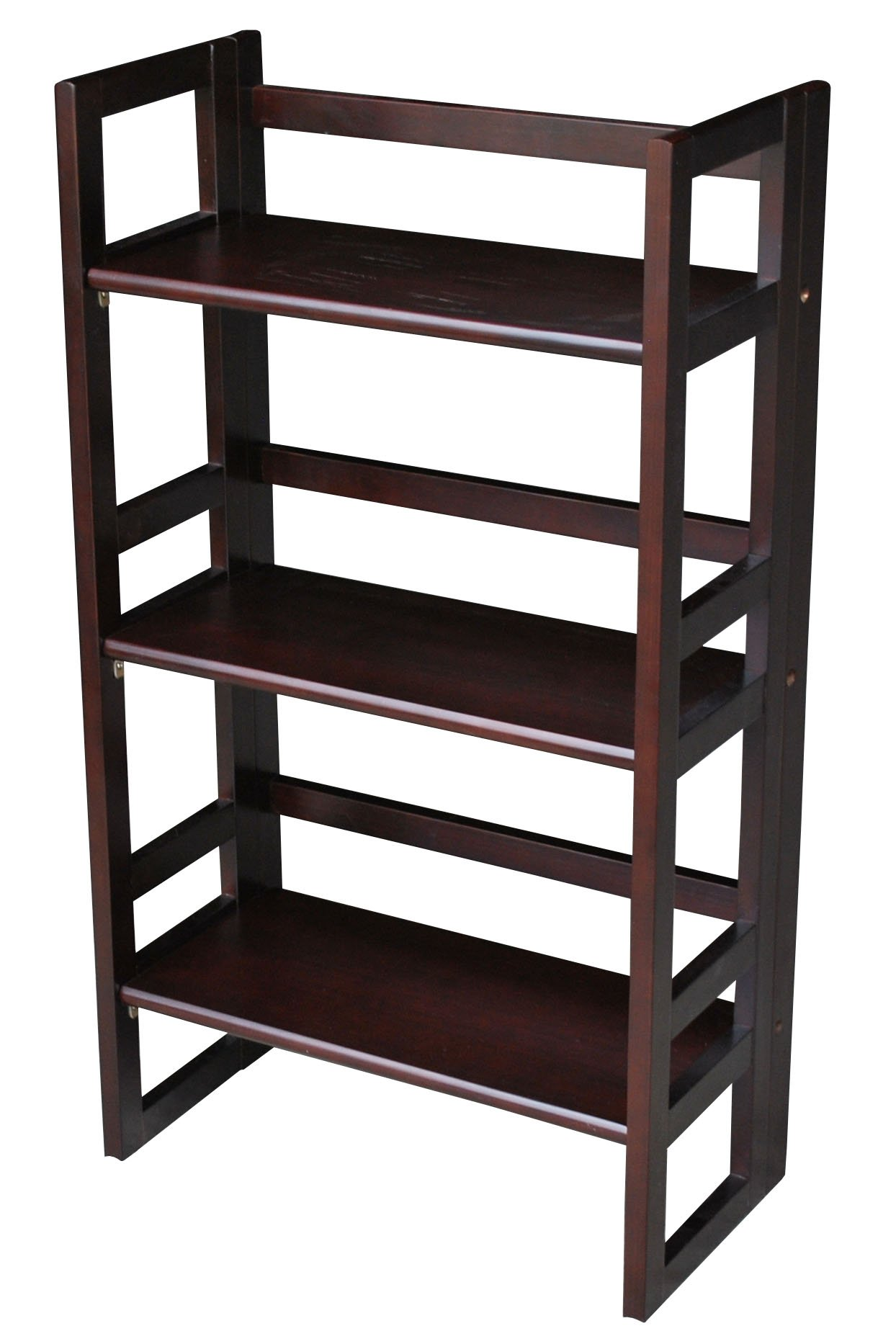 casual home 3 tier folding student bookcase 20 75 inch wide espresso ebay. Black Bedroom Furniture Sets. Home Design Ideas