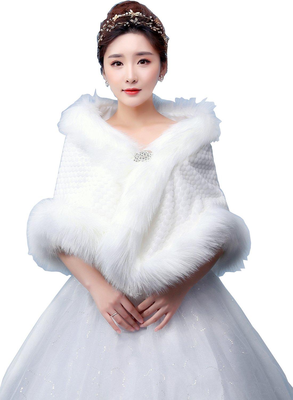 Elliehouse mink fur white wrap jakcet bolero shawl for for Winter shawls for wedding dresses