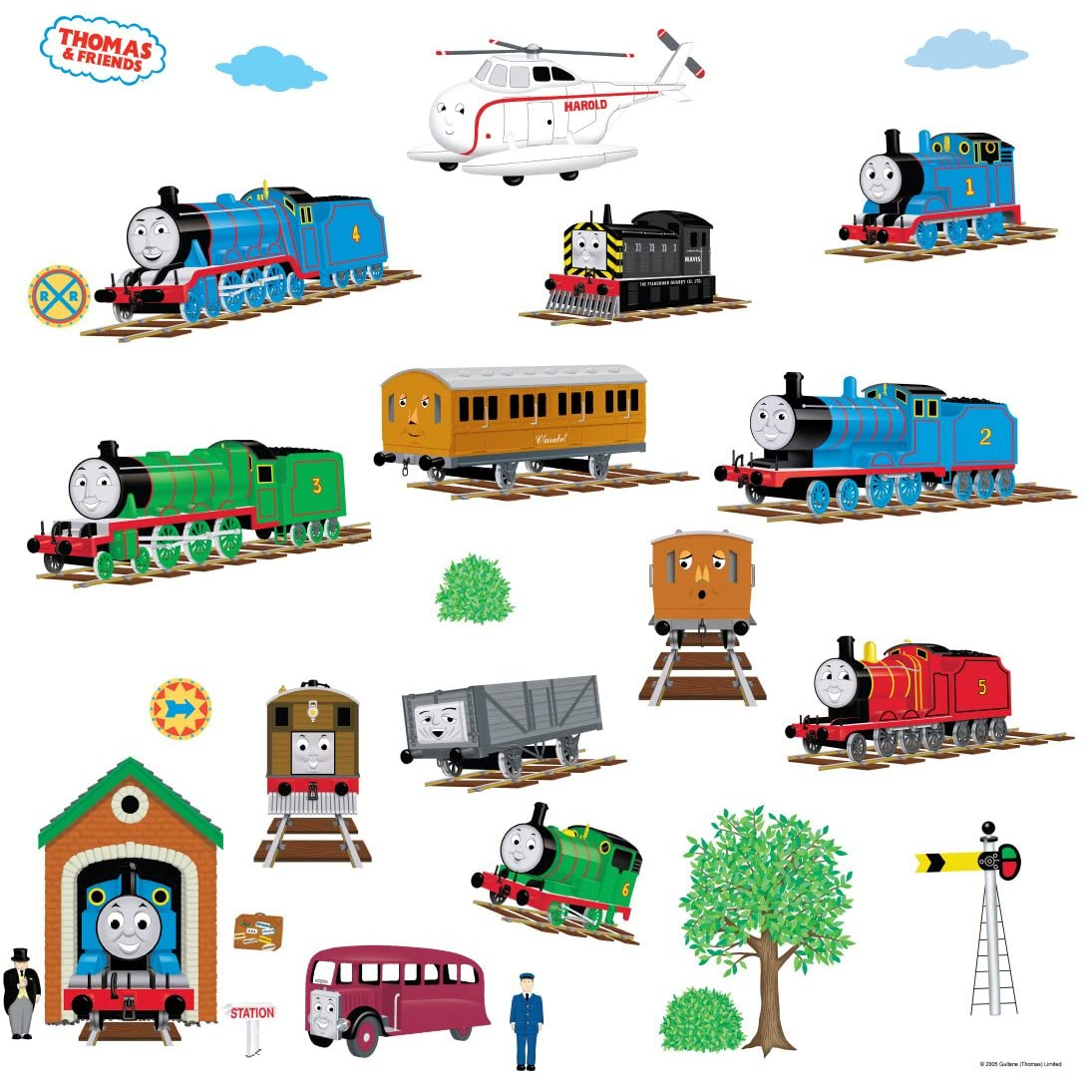 new thomas friends room appliques wall decor stickers. Black Bedroom Furniture Sets. Home Design Ideas