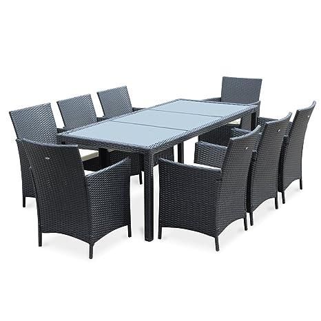 Alice's Garden - Salon de jardin 8 places - Tavola 8 Marron Noir - Résine tressée, table 195cm, coussins écru, 8 fauteuils