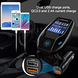 Bluetooth FM Transmitter for Car with Quick Charge 3.0 Wireless In-Car Radio Transmitter Adapter Support AUX Input/TF Card/USB Flash Drive/Hands-Free Calling (Color: fm transmitter QC3.0)