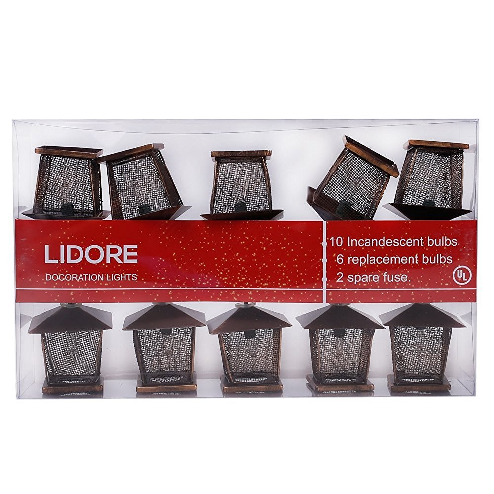 LIDORE 10 Counts Vintage Bronze Iron Nets Lanterns Plug-in String Lights. Great For Indoor/Outdoor Decoration. Best Ambience Decorative Lights. Warm White Glow. 6