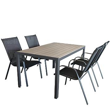 Gartenmöbel Set Gartentisch, Aluminiumrahmen Anthrazit, Tischplatte Polywood Grau, 150x90cm + 4x Stapelstuhl, Textilenbespannung Schwarz, Stahlrohrgestell Anthrazit