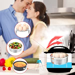 Accessories Set for Pressure Cooker with Steamer Basket, Egg Steamer Rack, Non-stick Springform Pan, Steaming Stand, 1 Pair Silicone Cooking Pot Mitts 5 Piece (Color: D)