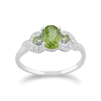 White 9ct Gold 0.84ct Natural Peridot & 1.6pt Diamond Three Stone Ring