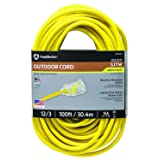 Southwire 02589SW Outdoor Extension Cord- 12/3 American Made SJTW Heavy Duty 3 Prong Extension Cord- Great for Commercial Use, Gardening, and Major Appliances (100 Foot- Yellow) (Color: Yellow, Tamaño: 100 ft)