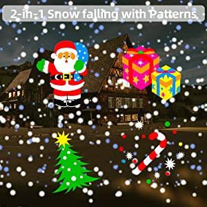 Christmas Projector Lights Outdoor 2-in-1 Snowfall with Moving Patterns Remote Control Waterproof for Outdoor Indoor, Snow Falling Effect with Various Patterns for Garden Landscape Decoration