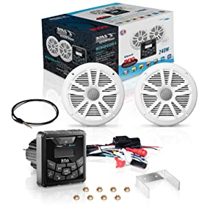 BOSS Audio MCKGB450W.6 Marine Gauge Receiver & Speaker Package - IPX6 Rated Weatherproof Receiver, 6.5 Weatherproof Speakers, Bluetooth Audio, USB/MP3, AM/FM & NOAA Weather Band Tuner, No CD Player (Color: Multi-Color, Tamaño: One Size)