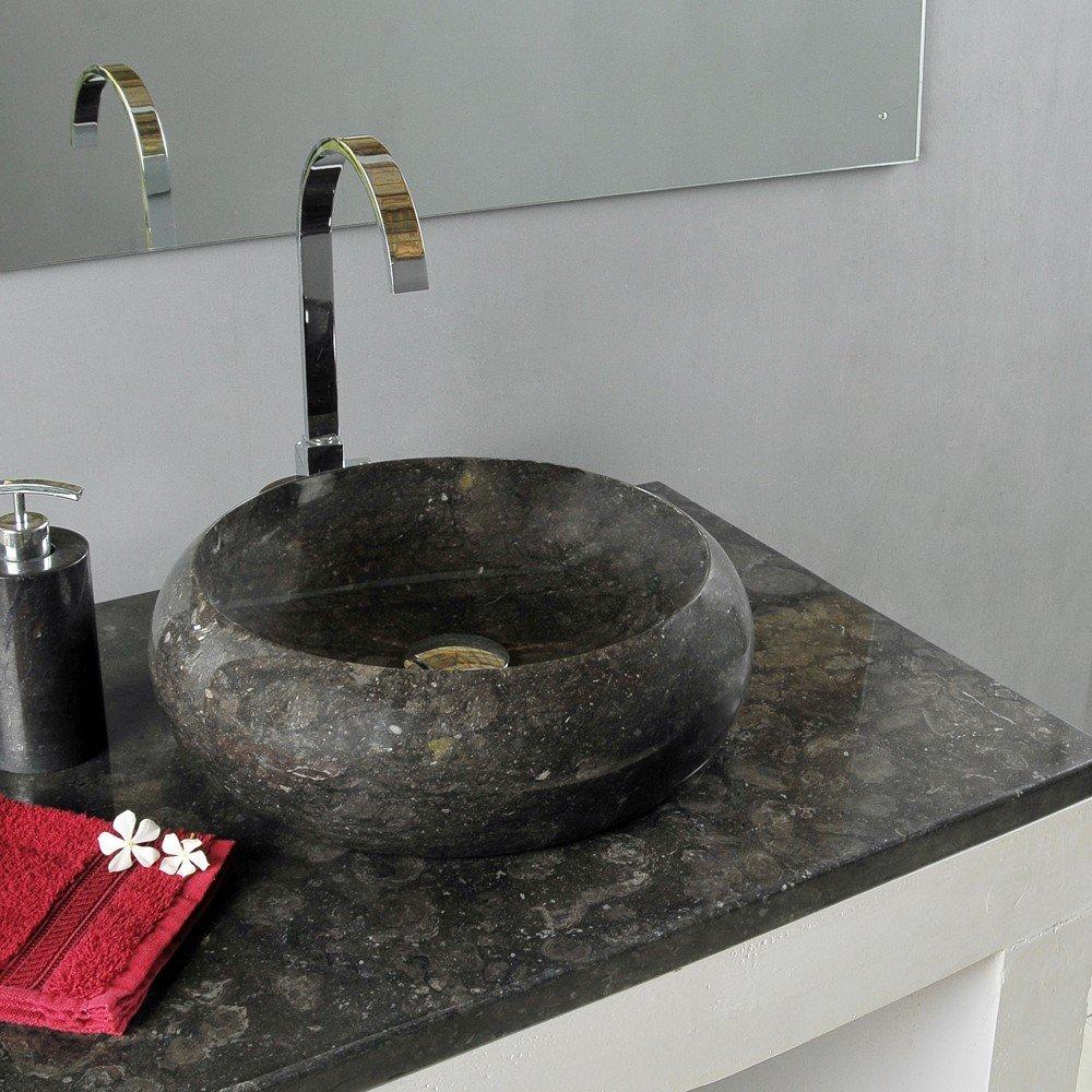 Wohnfreuden Marmor Waschbecken ASBAK rund Ø 40cm  schwarz   Kundenbewertung: