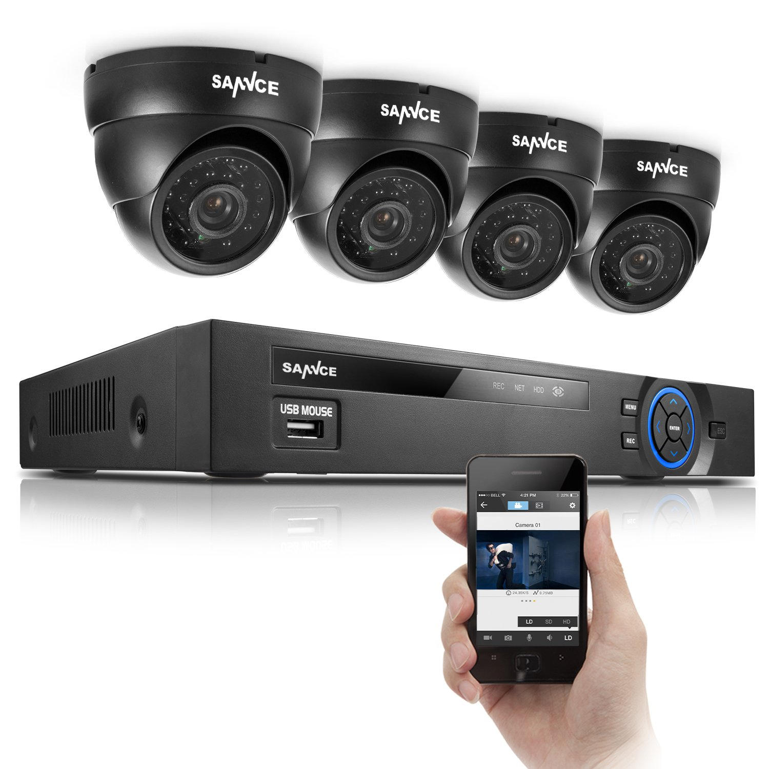 SANNCE 8CH 960H Video DVR Surveillance Camera System with 4 Vision 800 Dome Cameras