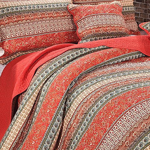 Alicemall-Boho-Style-Flower-Print-Stripes-Cotton-Bedspread-Quilt-Bed-Set-Bohemian-Red-and-Purple-Stripes-Patchwork-3-Piece-Bed-in-a-Bag-Queen-Size-Christmas-Colorful-Bedding