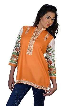 Ladies Floral Print Tunic Top Kurti (Orange, Large)