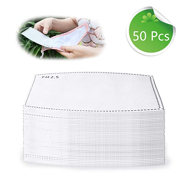 50 Pcs PM2.5 Activated Carbon Filter Reusable Protective N95 Masks 5 Layer Protective Filter Mask Replacement Filters (Adult) (Color: White, Tamaño: Adult)
