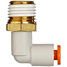 SMC KQ2L-S PBT One-Touch Tube Fitting with Sealant, 90 Degree Elbow, Tube OD x NPT Male with Brass Threads