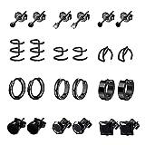 YOVORO 12 Pairs Stainless Steel Stud Earrings for Men Hoop Earrings for Women Ear Cuff CZ Cartilage Clip On Earrings Ear Piercing Set Black
