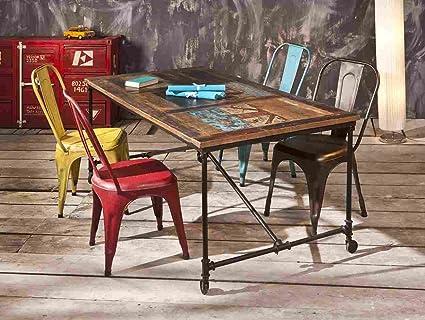 """Tavolo da Pranzo Vintage in Mango Riciclato Multicolor """"COFFEE"""""""
