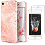 IDWELL iPod Touch 7 Touch 6 Touch 5 Case with 2 Screen Protectors, Slim FIT Anti-Scratch Flexible Soft TPU Bumper Hybrid Shockproof Protective Case for Apple iPod Touch 5/6/7th, Marble Pink (Color: Marble Pink)