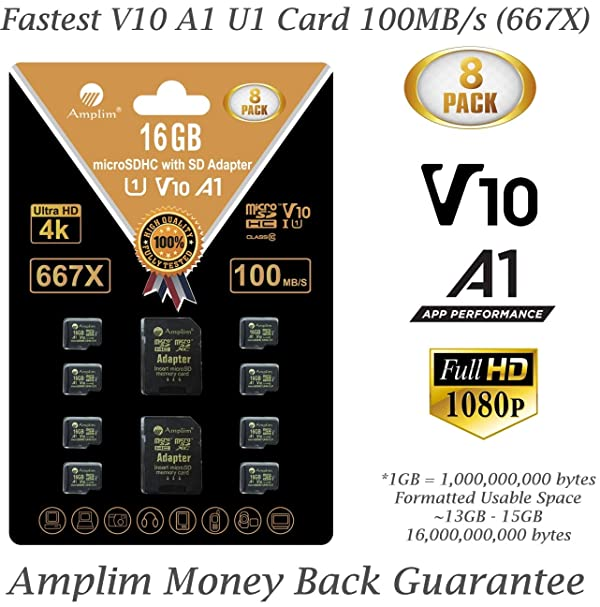 8-Pack Bulk 16GB Micro SDHC Memory Card Plus Adapter - Amplim 16 GB Class 10 Micro SD Card V10 A1. Extreme High Speed 100MB/s 667X microSDHC TF Card. Cell-Phones Tablets Fire Cameras Nintendo Drones (Color: Black 8X 16GB, Tamaño: MicroSD)