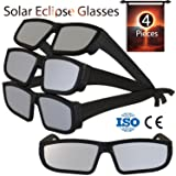 Solar Eclipse Glasses 2017 (4 Pack) - Direct Sun Viewing 100% Safe Eyewear CE and ISO Certified - Protection Shades Designed in USA by CreativeXP (Black) (Color: Black, Tamaño: All sizes)
