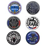 SOUTHYU 6 Pack France GIGN RAID BRI Police Nationale Tactical Morale Patches Military Emblem Embroidered Badge Decorative Appliques, Hook and Loop Patch (Color: 6 pieces French Morale patch)