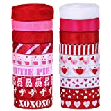 Supla 18 Rolls 100 Yard Valentine's Day Ribbons Trims Printed Grosgrain Ribbons Satin Ribbon Multicolor Organza Ribbons Satin Ribbons 3/8