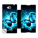 Skintice Designer Flip Cover with a hi res printed Vinyl Wrap around for Sony Xperia C C2305, Design Butterfly Splatter