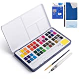 48 Assorted Watercolor Paints Set - Perfect Watercolor Pan Set with Water Brushes Mixing Palette and Half-Hand Glove for Beginners and Artists Journal Sketching Painting Coloring Drawing Art Supplies