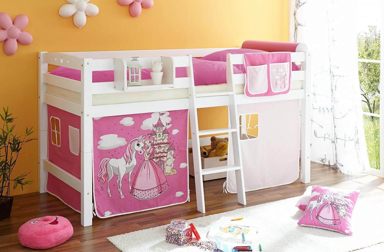 Hochbett Tipsi Buche massiv weiß Horse (pink)