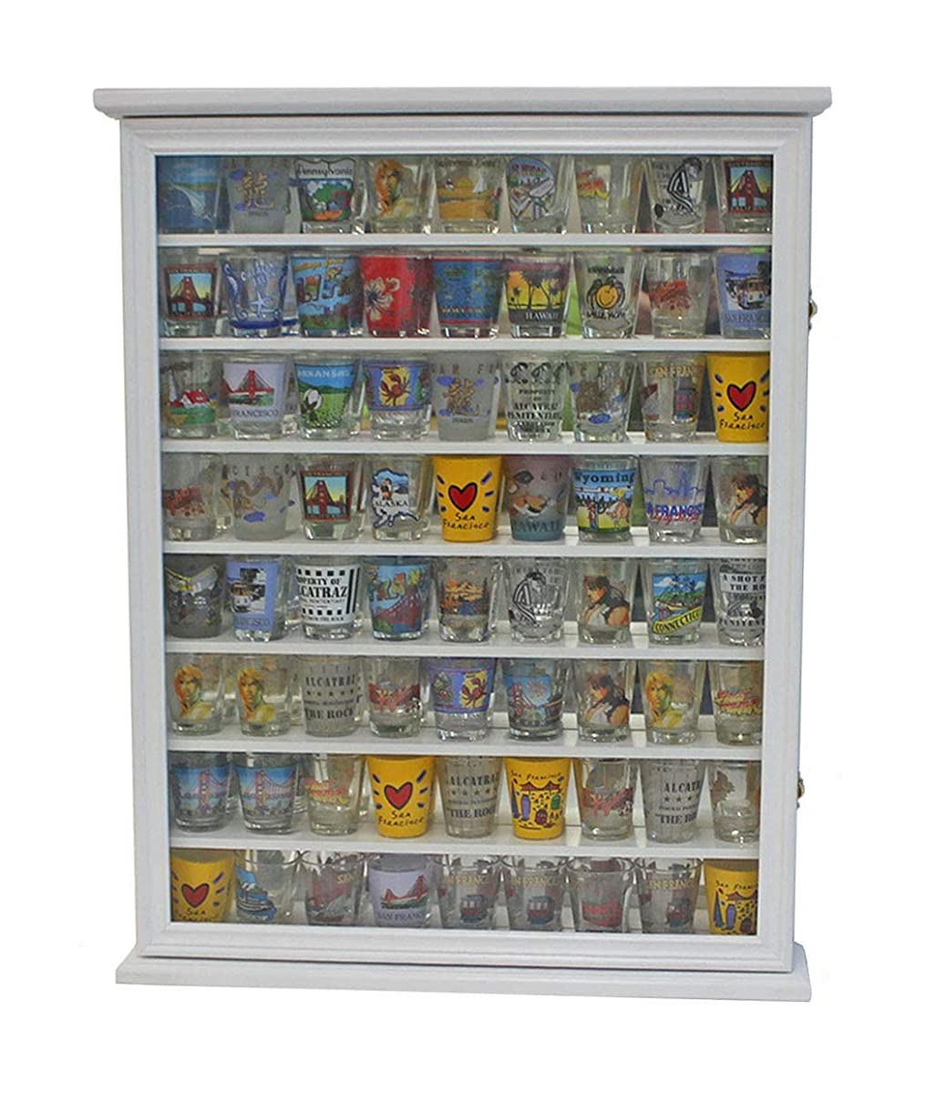 Large 72 Shot Glass Display Case Cabinet Rack Holder Glass Door, Mirror  Back (White Finish)