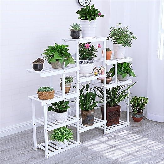 Weiß Mehrstöckiger Boden Woody Blumenrahmen Balkon Innenraum Weiß Modern Wohnzimmer Blumen Racks