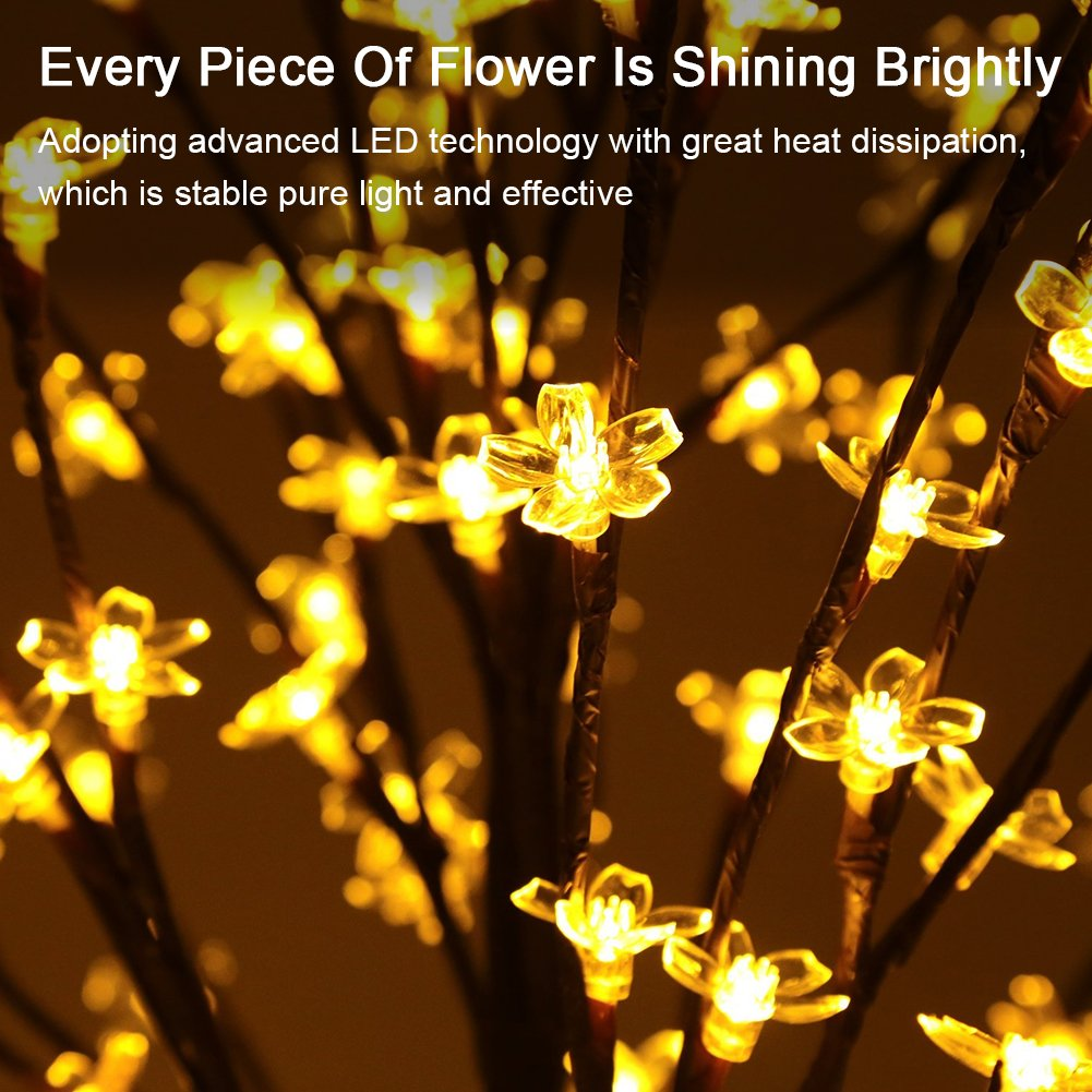 LED Cherry Blossom Tree Lights, Ucharge Lighted Christmas Tree Light 200 Leds Warm Lights and Black Flexible Branches as indoor/outdoor Floral Decorations