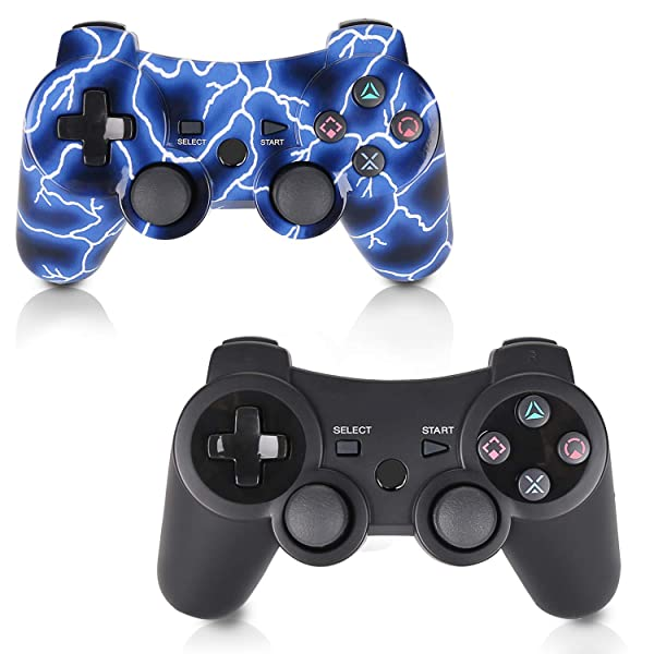 PS3 Controller 2 Pack Wireless Double Shock Gamepad for Playstation 3, Sixaxis Wireless PS3 Controller with Charging Cable,Compatible with Playstation 3 (B+L) (Color: black)