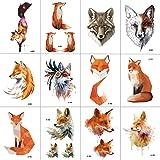 WYUEN 12 PCS/lot Wolf Temporary Tattoo Sticker for Women Men Fashion Body Art Adults Waterproof Hand Fake Tatoo 9.8X6cm FW12-01 (Fox) (Color: Fox)